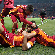 Galatasaray's Selcuk Inan (L) celebrate his goal with team mate during their Turkish Super League soccer match Galatasaray between TorkuKonyaspor at the AliSamiYen Spor Kompleksi TT Arena at Seyrantepe in Istanbul Turkey on Friday, 08 May 2015. Photo by Kurtulus YILMAZ/TURKPIX