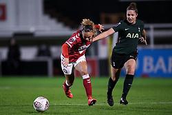 Ebony Salmon of Bristol City Women is challenged by Hanna Godfrey of Tottenham Hotspur Women - Mandatory by-line: Ryan Hiscott/JMP - 14/11/2020 - FOOTBALL - Twerton Park - Bath, England - Bristol City Women v Tottenham Hotspur Women - Barclays FA Women's Super League