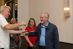 © Licensed to London News Pictures. 25/08/2015. Southampton, UK.  Jeremy Corbyn arrives at a rally held in the Hilton at the Ageas Bowl in Southampton after rumours for a Labour split.