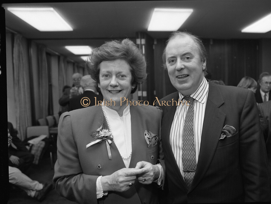"""Irish Laureate Women Of Europe Award. (T10)..1989..17.11.1989..11.17.1989..17th November 1989..Speculation regarding the Irish Laureate for the 1989 Women of Europe Award ended today when the Minister for Education, Ms Mary O'Rourke TD, announced that the Irish Laureate for this year is Grainne Kenny. Founder member of EURAD (Europe Against Drugs), and well known for her work as """"The drugs lady"""" in Ireland, Grainne Kenny has been involved in the fight against drugs since 1980. She helped form CAD, Community Action and Drugs and later EURAD. EURAD is has the active co-operation of both the European Commission and Parliament."""