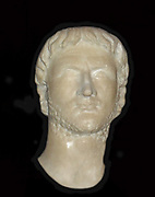 The Emperor Augustus 63BC-14AD, the first Roman emperor.  He became Gaius Julius Caesar Octavianus through adoption by Caesar in his will (44BC) and later received the name Augustus in recognition of his services and position. At the time of Caesar's assassination Augustus was a student at Apollonia in Illyricum, but returned at once to Italy to claim his inheritance.