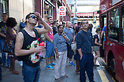 London, UK. Thursday 9th July 2015. Tube and train strikes caused misery for commuters with the entire London Underground network shut down and many rail services cancelled. The strike was in protest at longer working hours announced due to the tube system being open all night on weekends. With bus services still running the streets became clogged with people desperately trying to find a different route home, and so bus stops became overcrowded.