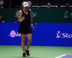 October 26, 2018 - Kallang, SINGAPORE - Ashleigh Barty of Australia in action during her doubles quarterfinal at the 2018 WTA Finals tennis tournament (Credit Image: © AFP7 via ZUMA Wire)