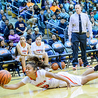 Gallup Bengal Kamryn Yazzie (20) dives for a loose ball while playing the Tohatchi Cougars at Gallup High School Tuesday.