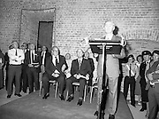 24/08/1984<br /> 08/24/1984<br /> 24 August 1984<br /> Opening of ROSC '84 at the Guinness Store House, Dublin. Mr Pat Murphy gives a speech at the art exhibition opening while seated behind are (front) Lord Iveagh and President Patrick Hillery, (back) Michael Scott and Mr Brian Slowey, Managing Director, Guinness, Ireland.