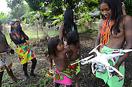 Local community discovering drone technology for the first time ever, during a visit by National Geographic Kike Calvo. Embera Indigenous Community. Sambu District. Darien Region.