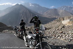 Sean Lichter and Scotty Busch head up to 12,000' at the end of day-5  of our Himalayan Heroes adventure riding from Kalopani through the Mustang District to Muktinath, Nepal. Saturday, November 10, 2018. Photography ©2018 Michael Lichter.