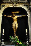 Crucifixion and detail of interior of Cathedral of Saint Jacob (Sveti Jakova), Sibenik, Croatia. Sometimes also referred to as Cathedral of Saint James.