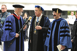 Yale University Commencement 2009 | Congregation and Activities on Cross Campus before the Ceremony | President Richard C Levin and Peter Salovey on right.