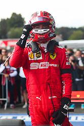 SPA-FRANCORCHAMPS, Sept. 2, 2019  Charles Leclerc of Ferrari celebrates after the Formula 1 Belgian Grand Prix at Spa-Francorchamps Circuit, Belgium, Sept. 1, 2019. (Credit Image: © Zheng Huansong/Xinhua via ZUMA Wire)