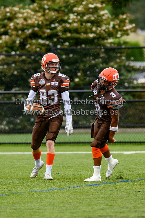 CHILLIWACK, BC - SEPTEMBER 11: Mike O'Shea #83 and Malcolm Miller #3 of Okanagan Sun celebrate a touchdown against the Westshore Rebels at Exhibition Stadium in Chilliwack, BC, Canada. (Photo by Marissa Baecker/Shoot the Breeze)