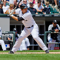 Chicago, IL - June 05, 2011:  White Sox Right Fielder, Carlos Quentin (20), bats against the Detroit Tigers at U.S. Cellular Field on June 5, 2011 in Chicago, IL.