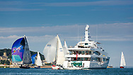 The Lady Christine luxury yacht owned by Lord Laidlaw of Rothiemay pictured in Cowes during the Panerai British Classic Sailing Week regatta. <br /> Picture date: Monday July 10, 2017.<br /> Photograph by Christopher Ison ©<br /> 07544044177<br /> chris@christopherison.com<br /> www.christopherison.com