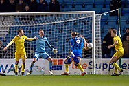 Gillingham FC forward Tom Eaves (9) claims for a penalty during the EFL Sky Bet League 1 match between Gillingham and Bristol Rovers at the MEMS Priestfield Stadium, Gillingham, England on 12 March 2019.