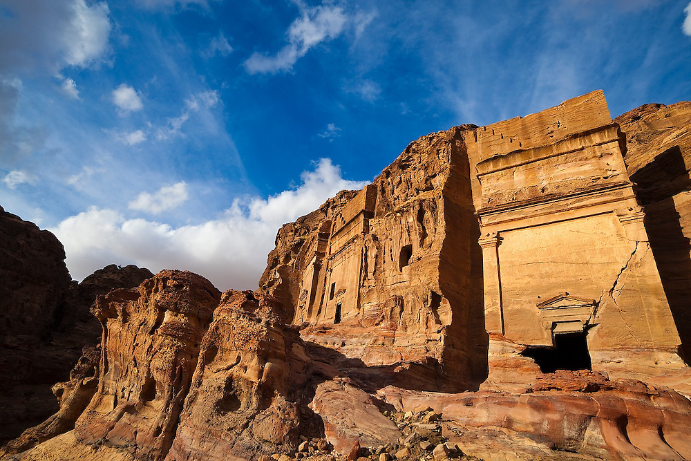 Tomb facades carved into a cliff in Petra, Jordan.