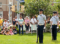 Caption Michael Wallace and 1st Lieutenant Daniel Powell from the Civil Air Patrol during the Memorial Day services at Veteran's Square in Laconia Sunday morning.  (Karen Bobotas/for the Laconia Daily Sun)Memorial Day parade and services in Laconia, New Hampshire  May 30, 2011.  Karen Bobotas/for the Laconia Daily Sun