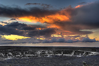 Sunrise over Kilauea Volcano Crater, Volcanoes National Park Hawaii. Image taken with a Nikon D2xs and 17-35 mm f/2.8 lens (ISO 100, 28 mm, f/5.). HDR composite of 7 images using Photomatix Pro