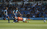 Blackpool's Joe Dodoo is hauled down by Wycombe Wanderers' Adam El-Abd<br /> <br /> Photographer Kevin Barnes/CameraSport<br /> <br /> The EFL Sky Bet League One - Wycombe Wanderers v Blackpool - Saturday 4th August 2018 - Adams Park - Wycombe<br /> <br /> World Copyright © 2018 CameraSport. All rights reserved. 43 Linden Ave. Countesthorpe. Leicester. England. LE8 5PG - Tel: +44 (0) 116 277 4147 - admin@camerasport.com - www.camerasport.com