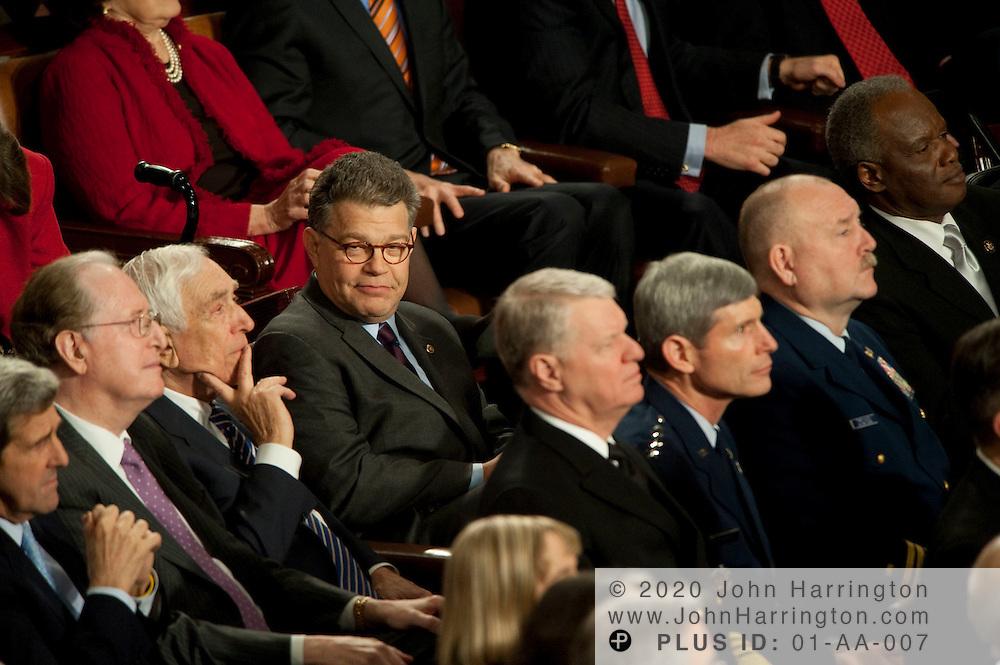 Coverage of President Barack Obama's first State of the Union address, Wednesday, January 27, 2009 in Washington, DC. Here, Senator Al Franken (D-Minn) listens to the President's remarks.