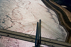 Sunset aerial view of the Fred Hartman Bridge