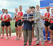 Banyoles, SPAIN, presentation to, left, Juan Antonio  SAMARANCH, former IOC.president  from the mayor of Banyoles represting the OC for the  FISA World Cup Rd 1. Lake Banyoles.  Sunday, 31/05/2009 [Mandatory Credit. Peter Spurrier/Intersport Images]