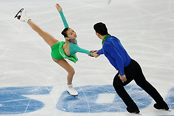 The XXII Winter Olympic Games 2014 in Sotchi, Olympics, Olympische Winterspiele Sotschi 2014, Figure Skating, Pairs Short Program,<br /> Cheng Peng and Hao Zhang (China) perform their short program in the pair skating competition at the XXII Olympic Winter Games *** Local Caption ***