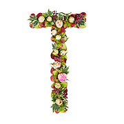 Capital Letter T Part of a set of letters, Numbers and symbols of the Alphabet made with flowers, branches and leaves on white background