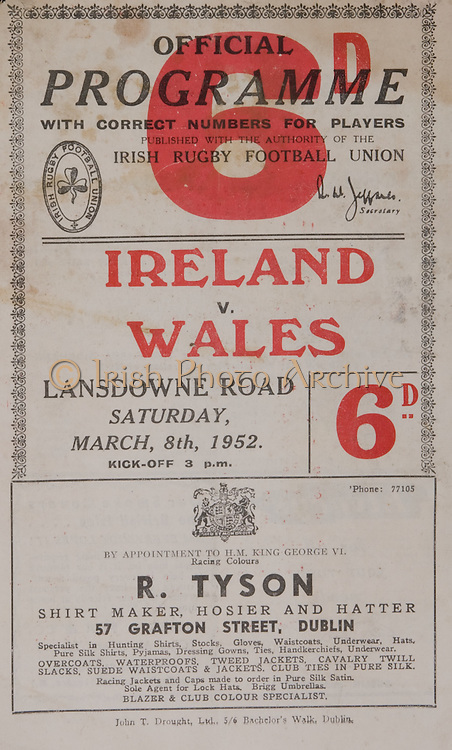 Irish Rugby Football Union, Ireland v Wales, Five Nations, Landsdowne Road, Dublin, Ireland, 8th March 1952, 8.3.1952, 3.8.1952,..Referee- Dr P Cooper, Rugby Union, ..Score- Ireland 3 - 14 Wales,..Irish Team,..J G M W Murphy, Wearing number 15 Irish jersey, Full Back, Dublin University Rugby Football Club, Dublin, Ireland, ..W H J Millar, Wearing number 14 Irish jersey, Right Wing, Queens University Rugby Football Club, Belfast, Northern Ireland,..N J Henderson, Wearing number 13 Irish jersey, Right centre, Queens University Rugby Football Club, Belfast, Northern Ireland,..R R Chambers, Wearing number 12 Irish jersey, Left Centre, Instonians Rugby Football Club, Belfast, Northern Ireland, ..G C Phipps, Wearing number 11 Irish jersey, Left wing, Rosslyn Park Rugby Football Club, London, England, ..J W Kyle, Wearing number 10 Irish jersey, Stand Off, Queens University Rugby Football Club, Belfast, Northern Ireland,..J A O'Meara, Wearing number 9 Irish jersey, Scrum, University college Cork Football Club, Cork, Ireland,  ..T Clifford, Wearing number 1 Irish Jersey, Forward, Young Munster Rugby Football Club, Limerick, Ireland, ..K Mullen, Wearing number 2 Irish Jersey, Forward, Old Belvedere Rugby Football Club, Dublin, Ireland, ..J H Smith, Wearing number 3 Irish jersey, Forward, Collegians Rugby Football Club, Belfast, Northern Ireland, ..P J Lawlor, Wearing number 4 Irish jersey, Forward, Clontarf Rugby Football Club, Dublin, Ireland,..A O'Leary, Wearing number 5 Irish jersey, Forward, Cork Constitution Rugby Football Club, Cork, Ireland,..J S McCarthy, Wearing number 6 Irish jersey, Forward, Dolphin Rugby Football Club, Cork, Ireland, ..M J Dargan, Wearing number 8 Irish Jersey, Forward, Old Belvedere Rugby Football Club, Dublin, Ireland,..Welsh Team, ..Gerwyn Williams, Wearing number 1 Welsh jersey, Full Back, Llanelly Rugby Football Club, Llanelly, Wales, ..Lewis Jones, Wearing number 5 Welsh jersey, Left wing, Llanelly Rugby Football Club, Llanelly, Wales, ..Alu