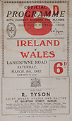 Rugby 08/03/1952 Five Nations Ireland Vs Wales