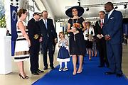 Koningin Maxima doopt het cruiseschip ms Koningsdam van Holland America Line in Rotterdam.<br /> <br /> Queen Maxima at the cruise ship ms Koningsdam Holland America Line in Rotterdanm for namen the ship.<br /> <br /> op de foto / On the photo:  Koningin Maxima met kapitein de Vries, zijn vrouw en dochter //// Queen Maxima with Captain de Vries, his wife and daughter.