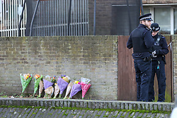 © Licensed to London News Pictures. 01/01/2019. London, UK. Floral tributes outside a house on John Ruskin Street in Camberwell, Southwark where a woman in her early 30s was stabbed to death early this morning. Photo credit: Dinendra Haria/LNP