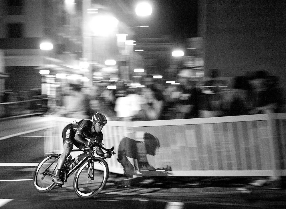 Cyclists compete in the Iron Hill Twilight Criterium in West Chester, Pa. USA. <br /> <br /> www.jackmegaw.com<br /> <br /> 610.764.3094<br /> jack@jackmegaw.com