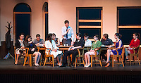 Gilford High School's dress rehearsal for 12 Angry Jurors Wednesday afternoon.  (l-r) back row Sarah Cook, Ryan Hall, Mariah Monahan, Christian Ayer, Colin Croft, Alec Medine, Summer McGaffigan.  (l-r) front row Sophia Prevost, Anna Malek, Gdebanen Clarke, Emily Hanf and Heather Hunt.  (Karen Bobotas/for the Laconia Daily Sun)