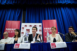 © Licensed to London News Pictures. 06/06/2015. London, UK. L to R Jeremy Corbyn, Liz Kendall, Mary Creagh, Yvette Cooper and Andy Burnham. Current Labour Leadership candidates attend a debate at the Fabien Society Conference, held at the institute of Education in London. Photo credit: Ben Cawthra/LNP