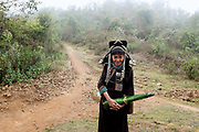An Akha Nuquie woman wearing her traditional costume on her way to back to the village of Ban Peryenxangmai with a roll of banana leaves collected from the forest, Phongsaly province, Lao PDR. The forest around an Akha village provides its inhabitants with a number of essential products including firewood, food and building materials.