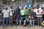 The Mbaraki base gang leaders in central Mombassa. They are the largest gang of street children in the city. The street gang children and young men are openly sniffing glue, tensions run high and fights break out regularly. The Wema centre provide a meal and health advice for the young men and women. Wema is an NGO in Kenya supporting vulnerable children.