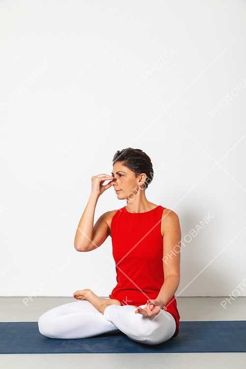 woman during alternate nostril breathing