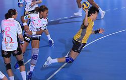 Njitam Kamto (4) and Luidmila Bodnieva (14) at handball match of 2nd Round of EHF Women`s Championsleague between RK Krim Mercator (SLO) and Metz Handball (FRA), in Arena Kodeljevo, Ljubljana, Slovenia, on November 9, 2008. Metz  won match against RK Krim Mercator with 31:26.