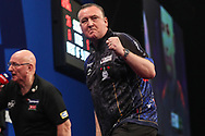 Glen Durrant hits a double and wins a leg during the Grand Slam of Darts, at Aldersley Leisure Village, Wolverhampton, United Kingdom on 11 November 2019.