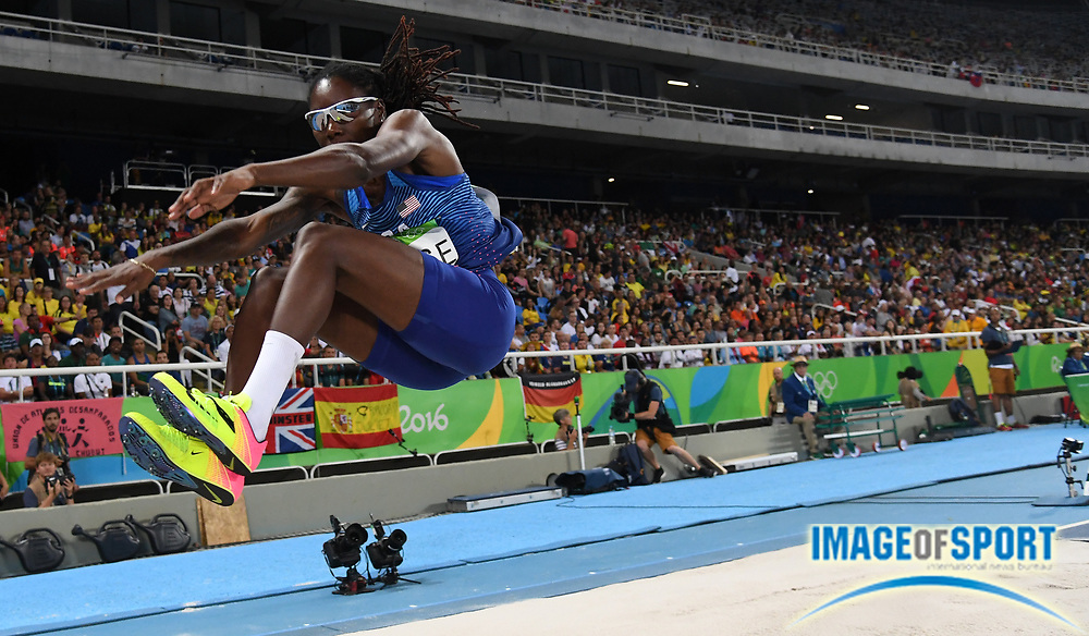 Aug 16, 2016; Rio de Janeiro, Brazil; Brittney Reese (USA) competes during the women's long jump qualifying round in track and field competition in the Rio 2016 Summer Olympic Games at Estadio Olimpico Joao Havelange.