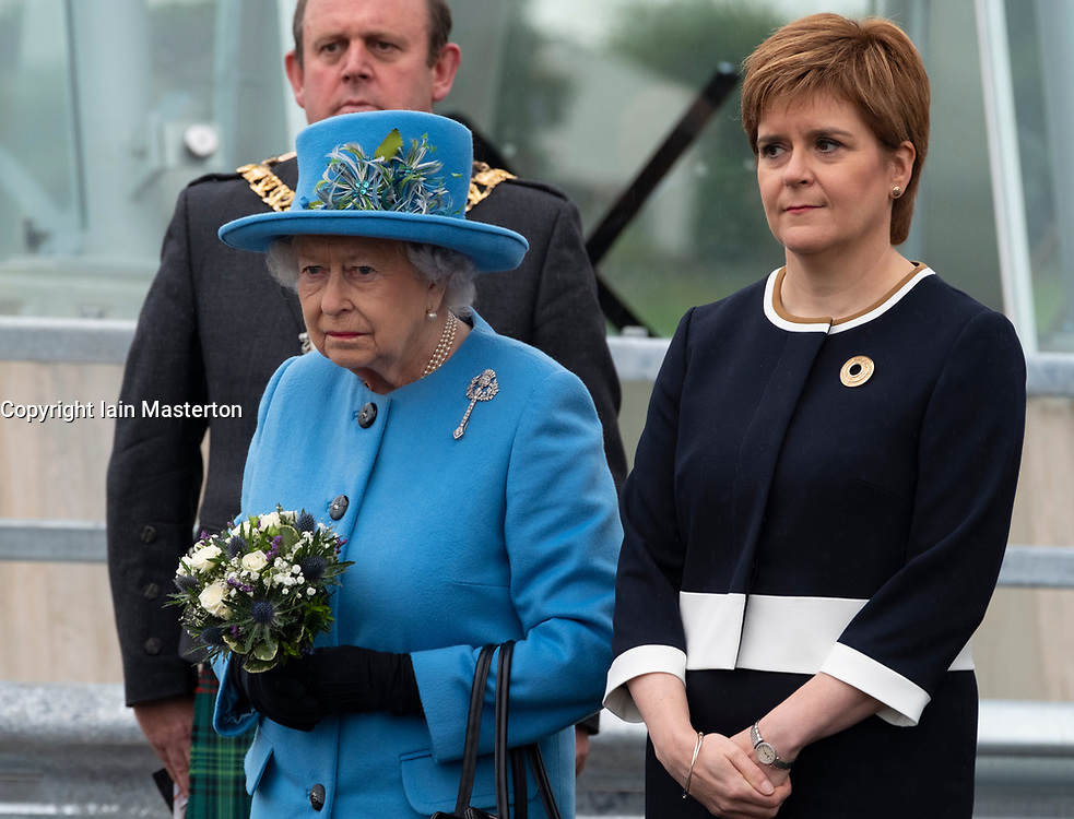 HRH Queen Elizabeth and Scotland's First minister Nicola Strgeon at South Queensferry to officially open the  Queensferry Crossing Bridge on 4 September 2017.