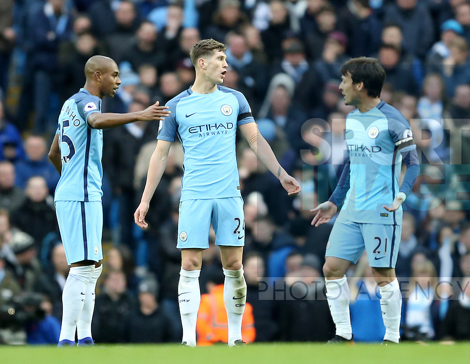 John Stones of Manchester City appears to get the blame following Chelsea's goal during the Premier League match at the Etihad Stadium, Manchester. Picture date: December 3rd, 2016. Pic Simon Bellis/Sportimage