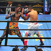 Richard Commey (L) punches Yardley Cruz during a Premier Boxing Champions fight on Saturday, August 4, 2018 at the Nassau Veterans Memorial Coliseum in Uniondale, New York.  (Alex Menendez via AP)