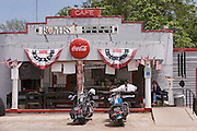 Motorcycles parked outside the Royers Round Top Cafe in Texas