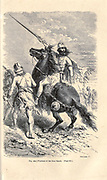 Iron Age warriors, according to the French illustrator Emile Bayard (1837-1891), illustration Artwork published in Primitive Man by Louis Figuier (1819-1894), Published in London by Chapman and Hall 193 Piccadilly in 1870