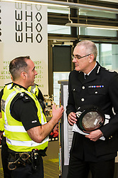 Pictured: Chief Constable Phil Gormley chatted to Chief Inspector Kevin McLean<br /> Police Scotland Chief Constable Phil Gormley unveiled details of the 'Your View Counts' exercise, which will help shape policing priorities throughout the country in Edinburgh today. <br /> Ger Harley   EEm 7 April 2016