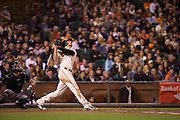 San Francisco Giants third baseman Conor Gillaspie (21) looks up at a pop up against the Colorado Rockies at AT&T Park in San Francisco, Calif., on September 27, 2016. (Stan Olszewski/Special to S.F. Examiner)