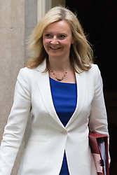 Downing Street, London, June 2nd 2015. Elizabeth Truss, Secretary of State for Environment, Food and Rural Affairs,  leaves 10 Downing Street following the weekly meeting of the Cabinet.