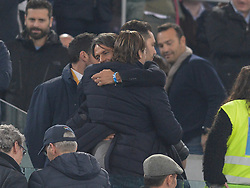 March 2, 2019 - Rome, Lazio, Italy - Francesco Totti greets Filippo Inzaghi during the Italian Serie A football match between S.S. Lazio and A.S Roma at the Olympic Stadium in Rome, on march 02, 2019. (Credit Image: © Silvia Lore/NurPhoto via ZUMA Press)