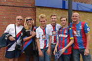 a Group of Crystal Palace supporters posing outside Stamford Bridge before k/o. Barclays Premier League, Chelsea v Crystal Palace at Stamford Bridge in London on Saturday 29th August 2015.<br /> pic by John Patrick Fletcher, Andrew Orchard sports photography.